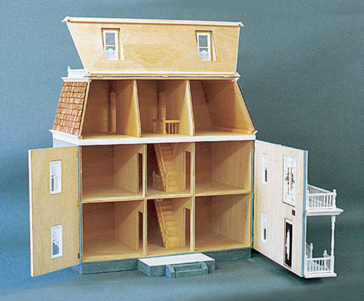 Front Opening Federal Dollhouse Kit 33w X 22d X 32h 10 Rooms