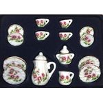 Tea set 17pc, Round Pink Flowers