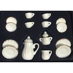Tea set 17pc, White with Gold Trim
