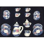 Tea set 17pc, Blue Lace Pattern