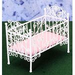 """Baby Crib, White Wire (3.5""""H x 4""""W x 2.25""""D )"""