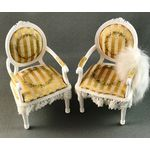 Pair Chairs with Gold Strip Fabric and Hand Painted Detail by Petite Romantique