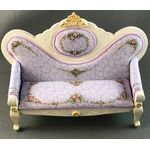 Mauve Sofa Hand Painted with Flowers by Petite Romantique