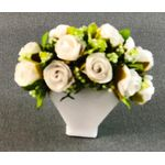 White Roses in a White Vase by Petite Romantique