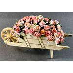 Wooden Wheel Barrow with Handpainted Roses by Petite Romantique