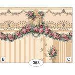 Carmen - Gold - Floral Stripe Wallpaper (267 X 413mm) (Main Pattern is C)