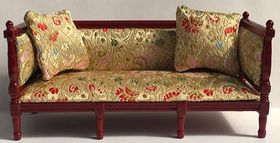Sofa with Gold Floral Fabric (150Wx70Hx62Dmm)