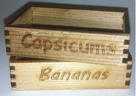 Crates Set of 6 Vegetables, Beans etc. Laser Cut (52 x 32 x 13mm)