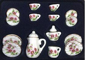 Tea set 17pc, Round Pink Flowers