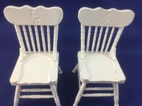 Painted Chairs Pair by Petite Romantique (45 x 45 x 80Hmm)