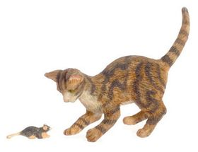 """Cat and Mouse Brown (1.25""""H x 0.5""""W x 1.875""""D)"""