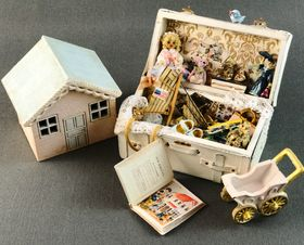 Nursery Trunk Dressed with Hand Made Doll etc by Petite Romantique