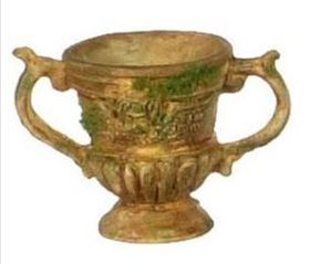"Urn, Tan with Moss (1.25""H) (Price Each)"