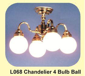Chandelier 4 bulb Ball Shade