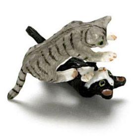 "Wrestling Kittens Gray and Socks (0.5""H x 0.875""W x 0.25""D)"