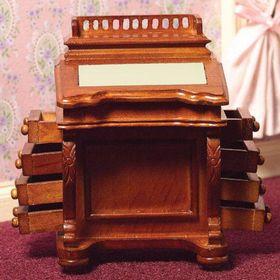 Ladies Davenport Desk Walnut  (65mmW x 55mmD x 90mmH)