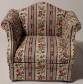 Chair Lilac Floral Stripe (77W x 60D x 75Hmm)