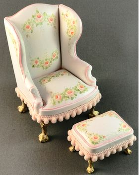Wingchair and Stool Hand Painted by Petite Romantique