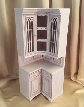 """Cambridge Manor Corner Cabinet White Wash (3' W x 3"""" D x 7-9/16"""" T)"""