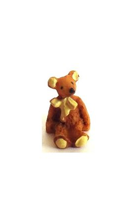 Resin Bear Yellow Bow (11mmH)