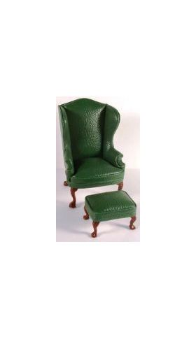 Green  Leather Armchair Only (70W x 60D x 108Hmm)