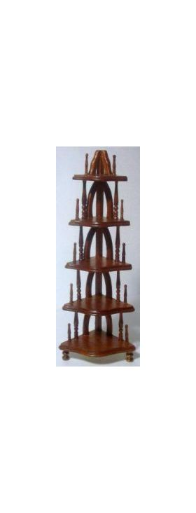 Corner Shelf 5 tier Walnut (37 x 37 x 138Hmm)