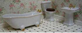 3 Piece Ceramic Bathroom Set Off White with Gold