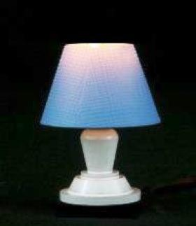 Bedroom Table Lamp White Metal Blue Shade