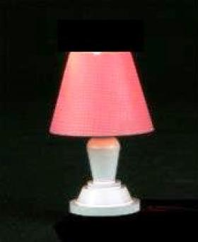 Bedroom Table Lamp White Metal Pink Shade