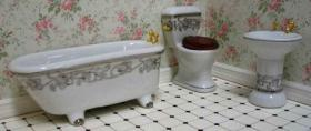 3 Piece Ceramic Bathroom Set White with Grey Floral