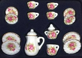 Tea set 17pc, Pink Roses