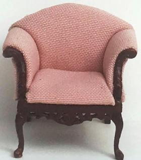 1:24 Armchair Mahogany with Pink Fabric (40 x 30 x 38Hmm)