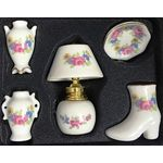 5Pc Set Lamp Boot Bowl and Vases Coloured Floral