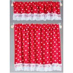 Cottage Curtains, Nursery Hearts, Red
