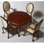 Round Table with 4 Chairs Padded Backs