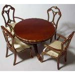 Round Table with 4 Chairs Open Backs