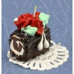 Christmas Log with Candle and Roses