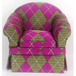 Armchair Purple Argyle (85 x 65 x 77H)
