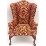 Armchair Wingback Red/Gold Fabric (57W x 64D x 108Hmm)