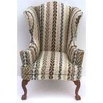 Armchair Wingback knitted Stripe Fabric (57W x 64D x 108Hmm)