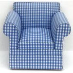 Armchair Blue/White Checked