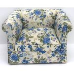 Armchair Blue White Floral, Low Back