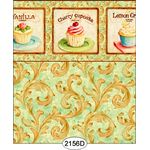 Cupcake Scroll with Border Aqua Wallpaper (267 X 413mm)