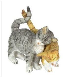 "Rubbing Cat Couple, Grey & Orange (1.125""H x 0.5""W x 1.5""D )"